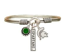 Michigan State Spartans 3 Charm Green Crystal Silver Wire Bracelet Jewelry MSU