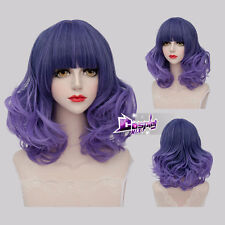 40CM Mixed Purple Medium Curly Hair Lolita Ombre Anime Cosplay Wig + Wig Cap