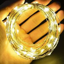 40Led Draht Lichterkette Batterie Micro Silberdraht Timer warmweiß Wasser 4m