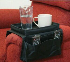 Armchair, Chair & Sofa Arm Rest Drinks Holder Remote Storage & Organiser - Black