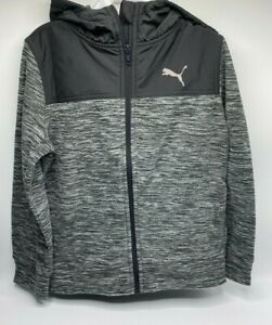 Boy's Size XS(5/6) Puma Youth Fleece Zip-Up Hoodie Sweatshirt Jacket Black Gray