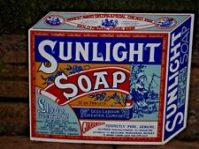 """1970s  LARGE HEAVY  ENAMEL """"SUNLIGHT' SOAP""""  Sign by Garnier    Lever Brothers"""