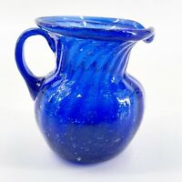 Vintage Hand Blown Cobalt Blue Creamer Pitcher Ribbed Glass Handle Fluted Top