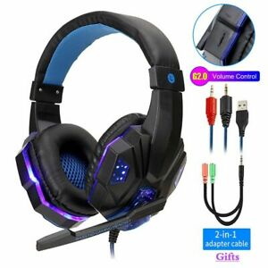 Led Light Gamer Headset Computer PS4 Gaming Headphones Adjustable Bass Stereo PC