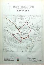 WALES, POWYS, RHAYADER,LLANSANTFFRAED,  Boundaries Commission Antique Map 1868