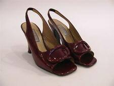 GIANNI VERSACE ITALY VERSUS BURGUNDY PATENT LEATHER OPEN TOE SLING HEEL SHOES~38