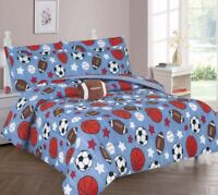 SOCCER BASKETBALL COMFORTER BED SHEET SET WINDOW PANEL VALANCE FOR KIDS TEENS