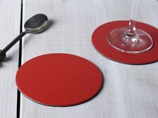 Set of 4 RED ROUND Leatherboard COASTERS