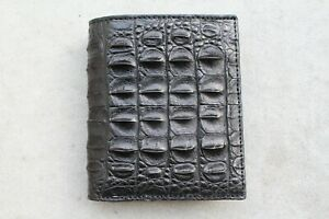 Crocodile Leather Skin Men's Bifold wallet  Genuine Alligator Black