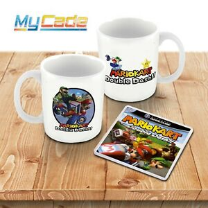 Mario Kart Double Dash GameCube Game Style Ceramic Mug and Plastic Coaster Set