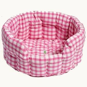 Small / Large Round Fabric Candy Pink Gingham Dog / Cat / Pet Bed by Win Green