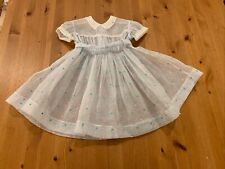 Vintage Youngland Girls 2T Approx Blue Dot Sheer Dress W/Stars Full Circle