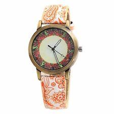 Watch Mandala Bohemian Women Girl Quartz Analog Leather Wristwatch Orange