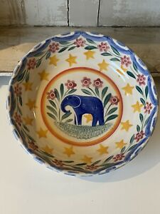 Bell Pottery Spongeware Serving Dish