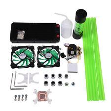 PC Liquid Water Cooling Kit 240mm Radiator CPU Block 2 LED Fan Pump Reservoir