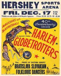 Vintage Antique Rare  POSTER 1970's  Harlem Globetrotters  Basketball Hershey PA