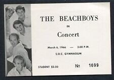 1966 The Beach Boys Concert Ticket Stub SOC Gymnasium Oregon Pet Sounds