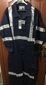 8 x Workhorse Work Overall Coverall Hi-vis Cotton Drill Navy Size 107R RRP$75