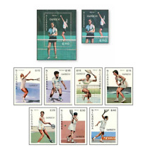 NIC87022 Tennis 8 stamps and block