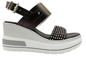 Sandali da donna Nero Giardini E115760D scarpe con zeppa alta comoda plateau
