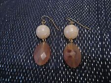 Very pretty dangle style earrings with spherical and oval faceted beads brown