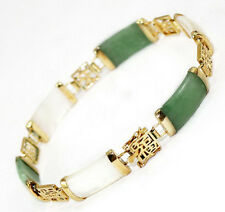 Green Jade White Shell Fortune Luck Yellow Gold Plated Link Clasp Bracelet