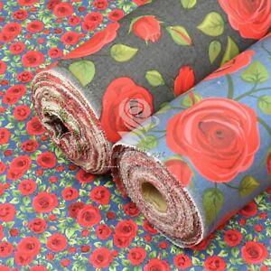 Red Rose Chambray Denim Cotton Floral Fabric Blue Black - dressmaking, skirts