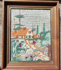 VTG Custom Framed Needlepoint Picture Country Landscape House Flowers Large