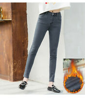 Women  Jeans Slim Fleece Lined Thick Thermal Warm High Waist Stretch pencil pant