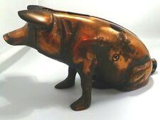 Vintage Cast Iron Pig Bank Souvenir Chicago Stockyards Copper Wash