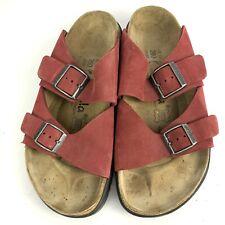 Betula Birkenstock Red Suede Arizona Two Strap Buckle Slip On Sandals 40 / 9.5