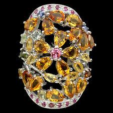 Jumbo Ring Citrin Turmalin Rubin Saphir 925 Silber 585 Weißgold Gr. 59