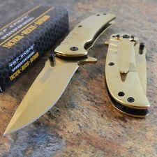 TAC-FOCE Gold TITANIUM Coated Spring Assisted Opening Folding Pocket Blade Knife