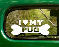 2 I LOVE MY PUG DOG BREED DECALs Sticker Car Bumper Truck Rv Laptop Window