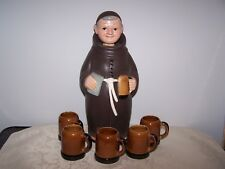 VINTAGE MONK DECANTER WITH 5 MATCHING SHOT GLASSES / MUGS - HAND PAINTED - JAPAN