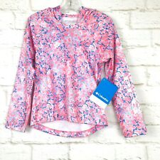 Columbia Girls Pink Blue Long Sleeve PFG Camouflage Super Tidal Hoodie XXS 4/5