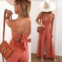 Sexy Women Strap V Neck Backless Wide Leg Pants Jumpsuit Romper Clubwear H6A2