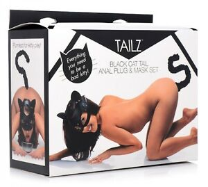 XR Brands Tailz Cat Tail Anal Butt Plug and Mask Set Cosplay Naugty Sexy | Black