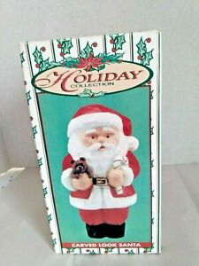 """Holiday Collection Carved Look Santa Figure World Bazaars """"10"""