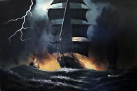 Sailing Ships Stormy Seas Waves Lightning Dramatic 24X36 Oil Painting STRETCHED