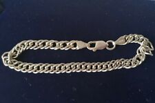 Link Chain Chain Bracelet Italy Vintage Sterling Silver Double Curb