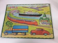 Saalfield Vintage 1950 Beginner Puzzle Toytown Trucking Transportation Sealed