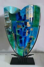 More details for dutch or usa tall fused art glass vase sculpture on metal stand