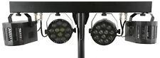 QTX LED Party FX Bar w/ Stand 2x RGBW Par Lights & Remote Portable Lighting Set