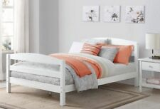 White Full Size Bed Frame With Wood Headboard Platform Modern Bedroom Furniture