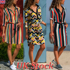 UK Womens Boho Striped Casual Shirt Dress Ladies Holiday Beach Mini Dress 8-20