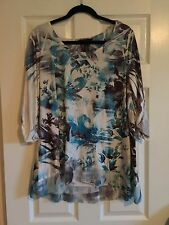 Style And Co Misses XL Graphic Cream/Teal Ruffled Edge Tunic Blouse SALE