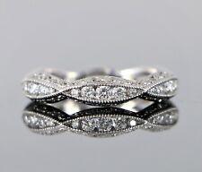 Tacori Classic Crescent 18K White Gold Round Diamond Wedding Band Ring 5.5