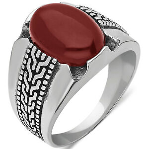 Solid 925 Sterling Silver Agate Stone Turkish Men's Ring