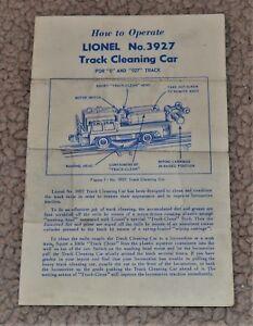 VTG 1956 Lionel Track Cleaning Car Sheet Form 3927-44 8-56